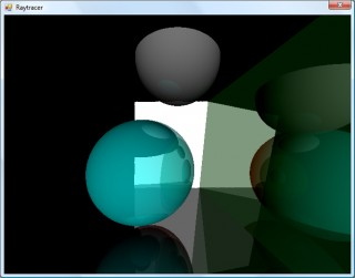 Reflective planes and spheres with a simple directional light source.