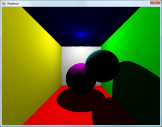 Shadowing test, where each colour value is multiplied by the dot product of the light beam and the surface normal.