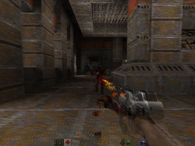 Quake II's tweaked software renderer that now supports row-interleaved stereoscopic 3D.