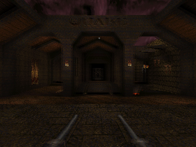 WinQuake, demonstrating the crosshair bug and excessive stereo separation of the player's weapon