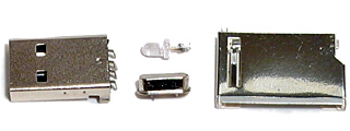 Parts from the disassembled SD card reader