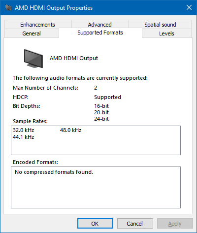 Sound properties showing that only PCM formats are supported