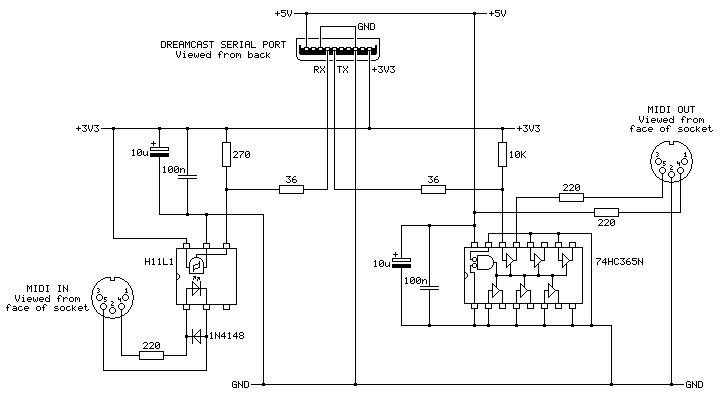 The schematic for the MIDI interface cable