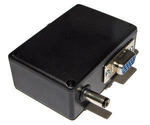 The barrel plug and DE-15 VGA connectors on the output side of the CVBS adaptor