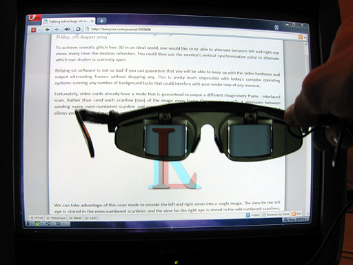 LCD shutter glasses showing the left eye view of a row-interleaved image