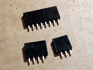 8-way pin socket cut in two