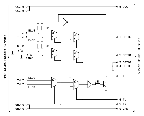 Circuit for the Light Phaser to Justifier adaptor
