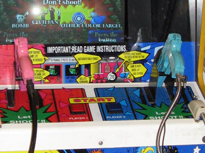 Point Blank arcade cabinet showing the two Start buttons