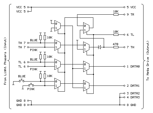 Revised circuit for the Light Phaser to Justifier adaptor
