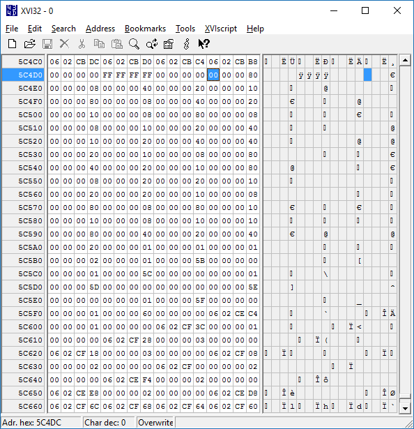 Screenshot of hex editor showing cheat button sequences