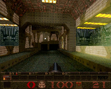 Screenshot of Quake's first level on the Sega Saturn